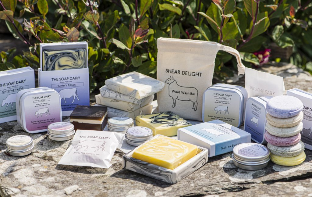 Selection of  artisan Jersey milk soap products from The Soap Dairy